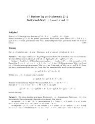 Klassenstufe 9 bis 10 - Tag der Mathematik