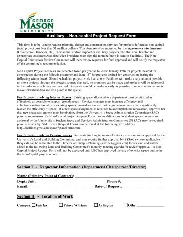 Interior Design  NonCapital Project Request Form    Facilities