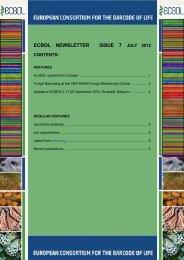 ECBOL Newsletter Issue 7 - European Consortium for the Barcode ...