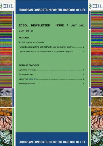 ECBOL Newsletter Issue 7 - European Consortium for the Barcode ...
