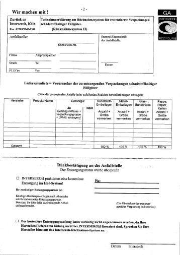 Merkblatt und Formulare Schadstoffhaltige Füllgüter - Berkefeld