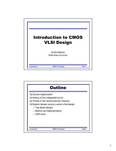 Introduction To Cmos Vlsi Design Outline Walla Walla University