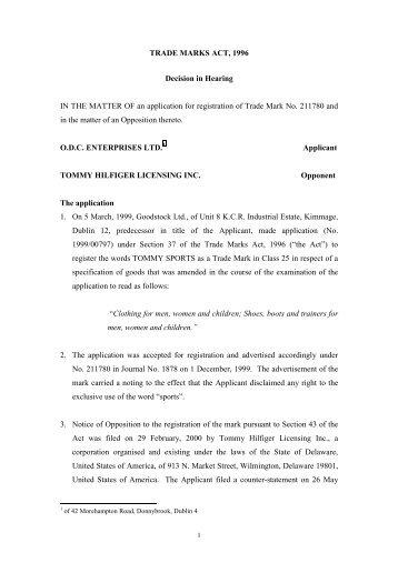 TRADE MARKS ACT, 1963 - Irish Patents Office