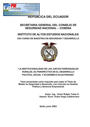 republica del ecuador - Repositorio Digital IAEN - Instituto de Altos ...