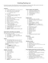 2013 Clothing, Packing List - Clearwater Camp for Girls