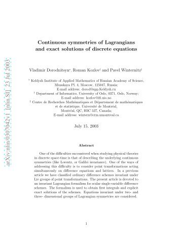 Continuous symmetries of Lagrangians and exact solutionss of ...