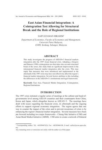 East Asian Financial Integration: A Cointegration Test Allowing for ...