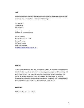 Pilot Evaluation Report - Faculty Development - London Deanery