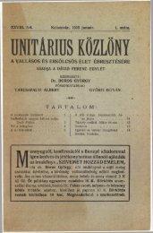 1915 - Magyarországi Unitárius Egyház