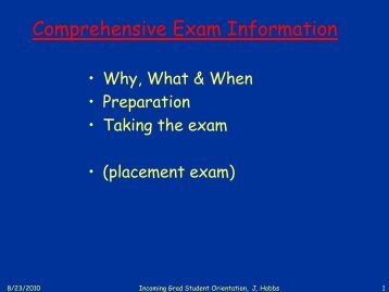 Comprehensive Exam Information - Physics & Astronomy Graduate ...