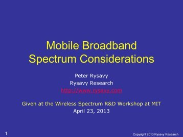Mobile Broadband Spectrum Considerations - Rysavy Research