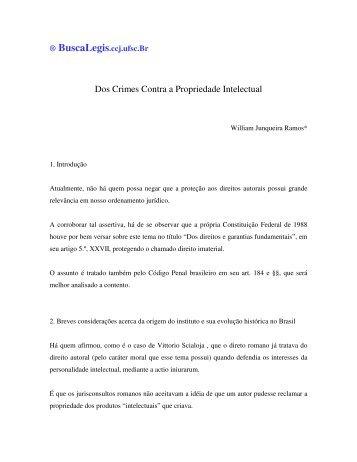 Dos Crimes Contra a Propriedade Intelectual - BuscaLegis