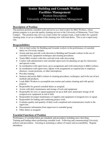 Support Staff Positions Job Description: Director Of Facilities
