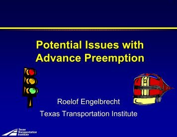 Potential Issues with Advance Preemption - Traffic Signal Systems ...