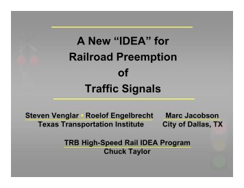 "A New ""IDEA"" - Traffic Signal Systems Committee"