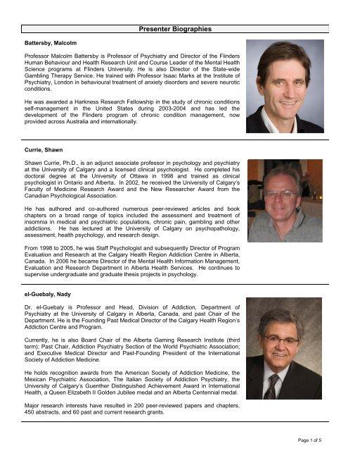 Conference 2010 Presenter Bios Alberta Gambling Research