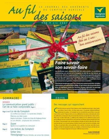 Fil Des Saisons #20 Eté 2007 - Comptoir Agricole