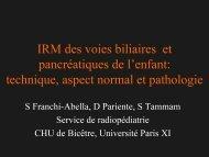 IRM des voies biliaires et pancréatiques de l'enfant: technique ...
