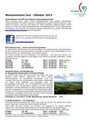 Weinseminare Juni - Oktober 2013 - Weinlade am Gutenbergplatz