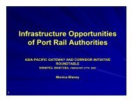 Infrastructure Opportunities of Port Rail Authorities - Canada's Asia ...