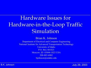 Hardware Issues for HITL - Traffic Signal Systems Committee