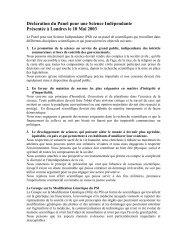 Déclaration du Panel pour une Science Indépendante Présentée à ...