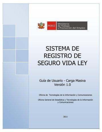 Sistema de Registro de Seguro Vida Ley - Ministerio del Trabajo y ...