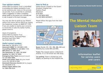 The Mental Health Liaison Team - Oxleas NHS Foundation Trust