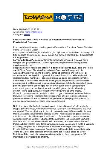 Fiera del Gioco 4-5 aprile 09 a Faenza Fiere centro ... - RomagnaNotte