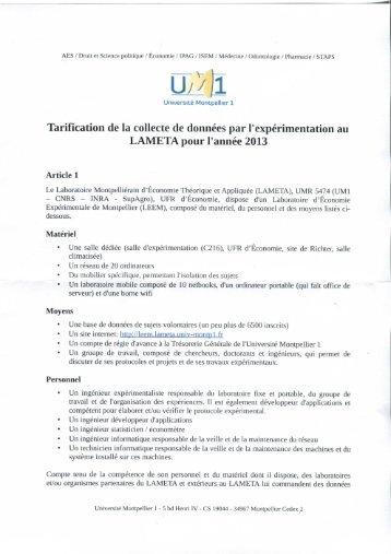 Tarification 2013 - Lameta