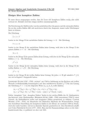 Einiges über komplexe Zahlen