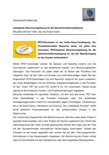 Kennzeichnung von Geschirr der Firma Bauscher für ... - smart-TEC