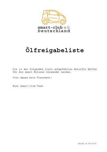 Ölfreigabeliste - Smart Club e.V.