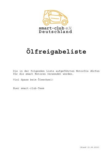 Ölfreigabeliste - Smart Club e.V.