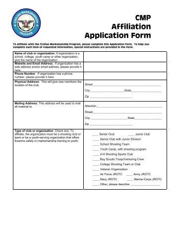 Order Form CMP Affiliate Rifle Purchase Program - Civilian ...
