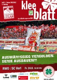 RWO : SC Verl Fr. 24.8. 19:30 Uhr - SC Rot-Weiß Oberhausen eV
