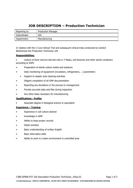 manufacturing technician job description