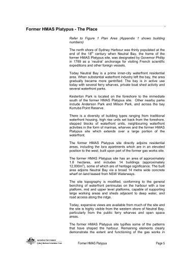 Comprehensive Plan Amendment HMAS Platypus Part 1 - Sydney ...