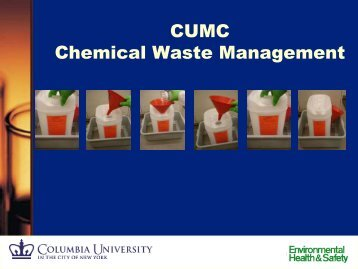 Chemical/Hazardous Waste Management (CUMC) - Environmental ...