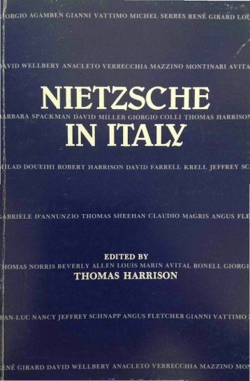 NIETZSCHE IN ITALY - UCLA Department of Italian
