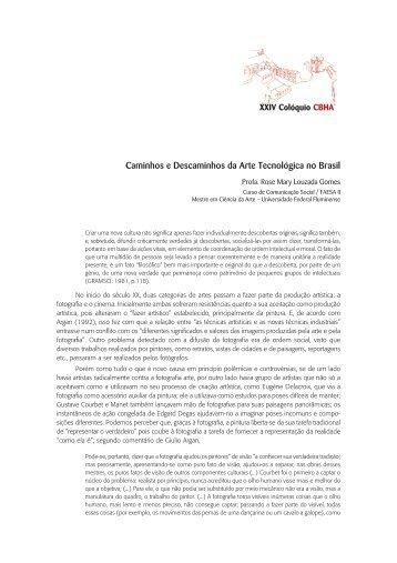 Caminhos e Descaminhos da Arte Tecnológica no Brasil - CBHA