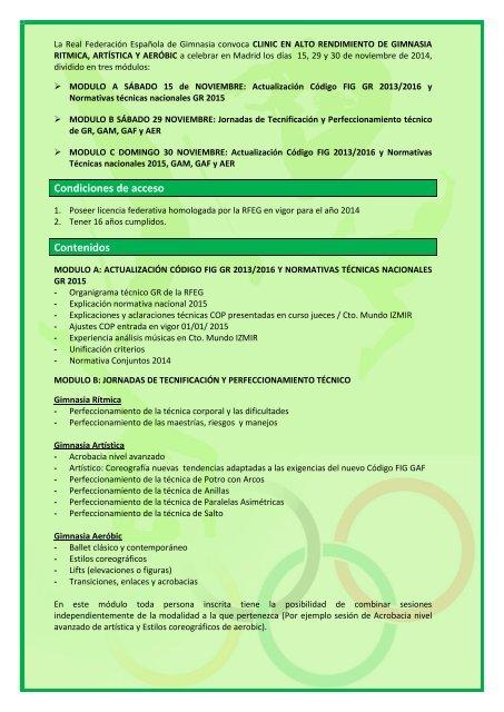 CONVOCATORIA CLINIC ALTO RENDIMIENTO GR2014