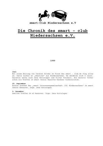 Die Chronik des smart – club Niedersachsen e.V.