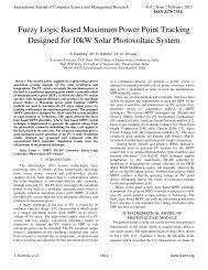 Fuzzy Logic Based Maximum Power Point Tracking Designed - ijcsmr