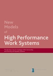 New Models of High Performance Work Systems - Equality Authority