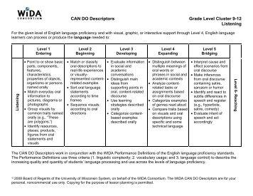 CAN DO Descriptors - WIDA