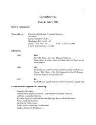 Curriculum Vitae Paula K. Peters, PhD - College of Human Ecology ...