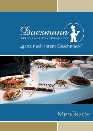 Menükarte - Partyservice Duesmann