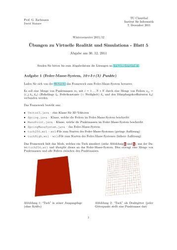 ¨Ubungen zu Virtuelle Realität und Simulationa - Blatt 5 - TU Clausthal
