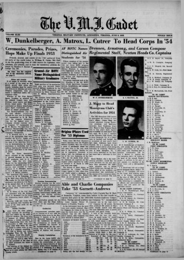 The Cadet. VMI Newspaper. June 08, 1953 - New Page 1 [www2 ...